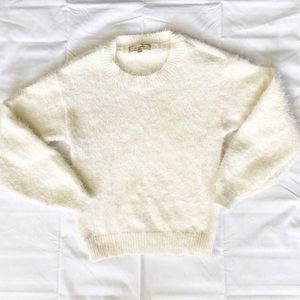 No Comment Cream Fuzzy Cropped Sweater